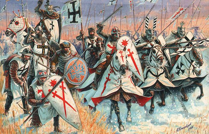 Воины Ливонского ордена.