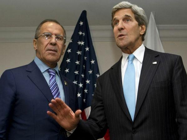 Глава МИД РФ Сергей Лавров, госсекретарь США Джон Керри.