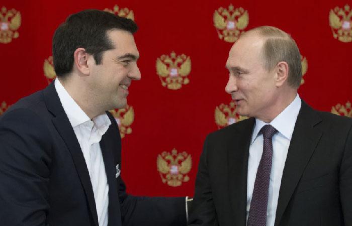 Алексис Ципрас - глава греческого правительства и президент России Владимир Путин.