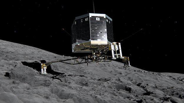 Исследовательский модуль Philae на поверхности кометы 67P/Чурова-Герасименко фото: http://www.esa.int