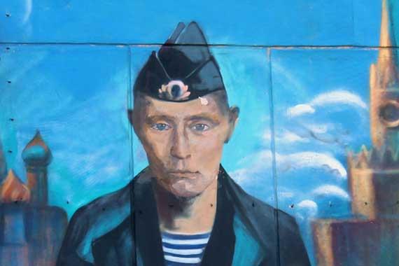 Граффити с изображением Владимира Путина в Севастополе. Фото: Севкор