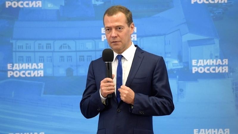 Премьер-министр России Дмитрий Медведев на встрече с активом «Единой России» в Новосибирске. Фото: da-medvedev.ru
