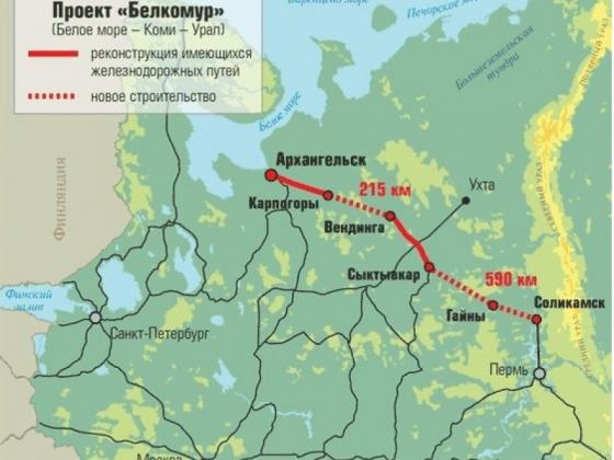 Схема строительства «Белкомура». Иллюстрация komikz.ru