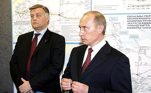Владимир Путин и Владимир Якунин на совещании в порту Усть-Луга в 2006 году. Фото: kremlin.ru