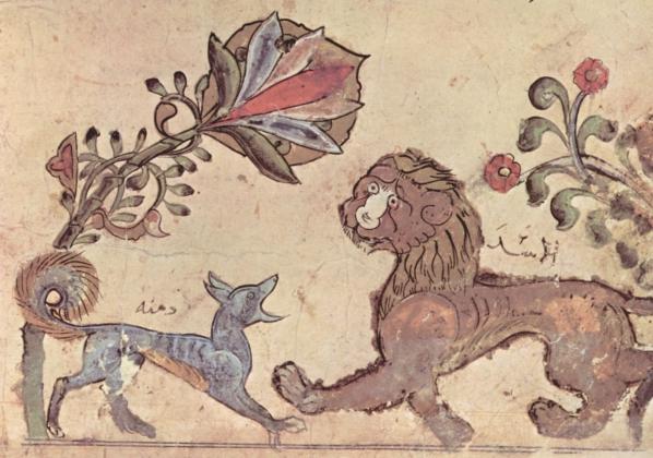 Сирийский художник в 1210:  сказка о шакале и льве.
