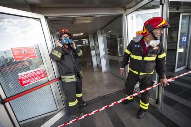 Пожар на  территории аэропорта Фьюмичино.