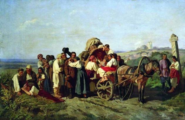 Трутовский Константин. «Переселенцы из Курской губернии», 1864