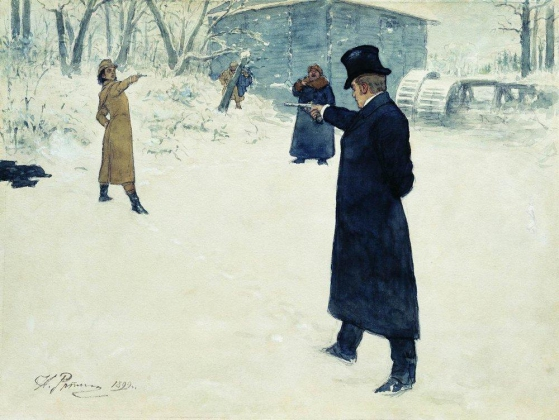 Илья Репин. Дуэль Онегина и Ленского. 1899 год
