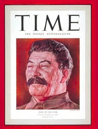 Иосиф Виссарионович Сталин на обложке журнала TIME в 1939г.