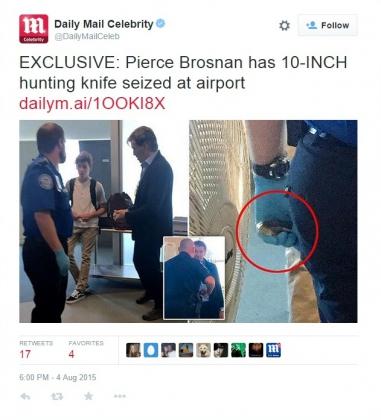 У Пирса Броснана в аэропорту конфисковали охотничий нож