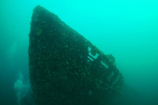 Затонувший корабль на дне Кольского залива.