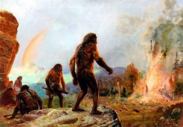 Зденек Буриан. «Неандертальцы: огонь и радуга»
