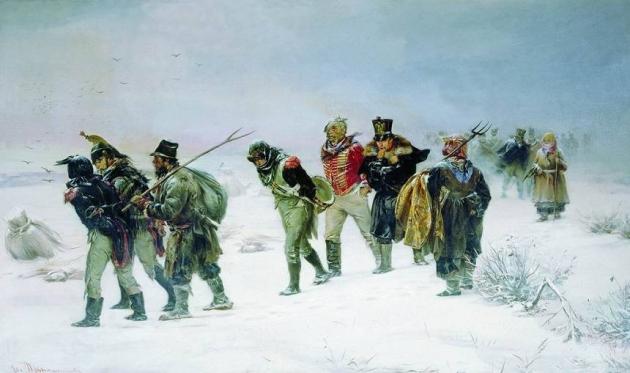 И. Прянишников. Отступление французов в 1812.