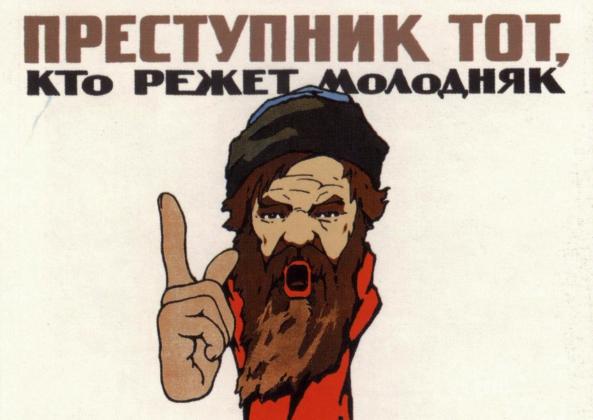С. Давыдов. Преступник тот, кто режет молодняк. Плакат. 1920 год. Фрагмент