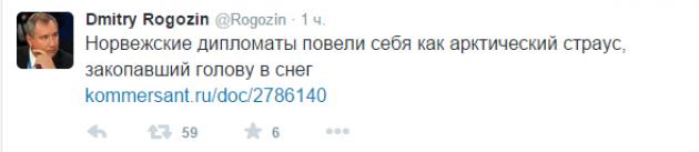 Рогозин: «Норвежские дипломаты повели себя как арктический страус»