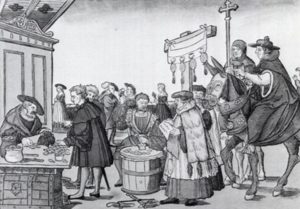 Очередь за индульгенцией. Гравюра по дереву. XVI век.