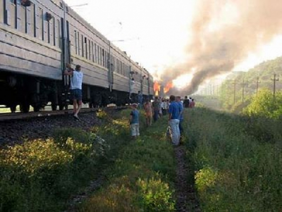 Горящий поезд.