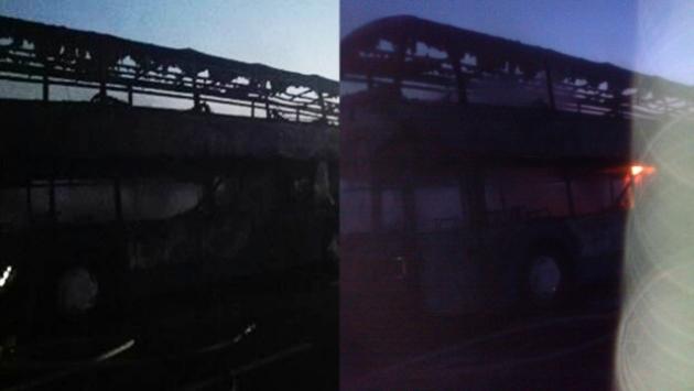 В Тульской области на трассе сгорел пассажирский автобус