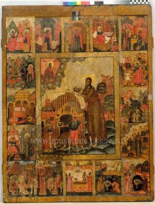 Икона Усекновение главы Иоанна Предтечи с житием в 16 клеймах (XVII в.) после реставрации.