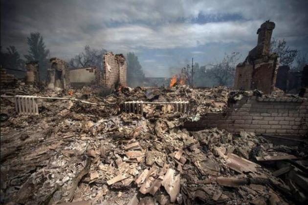 Разрушения на Донбассе.