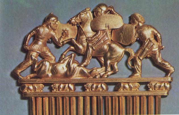 Скифский гребень из кургана Солоха.