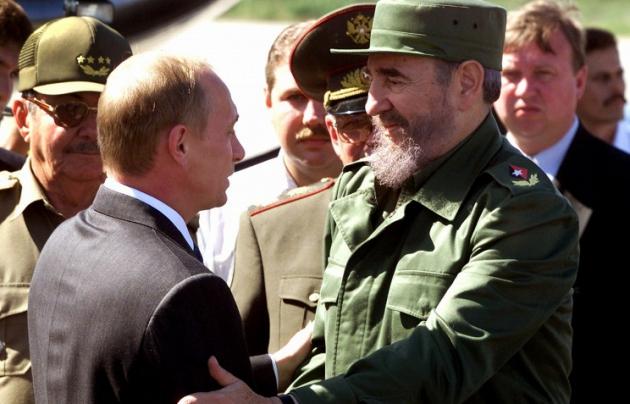 Владимир Путин и Фидель Кастро.