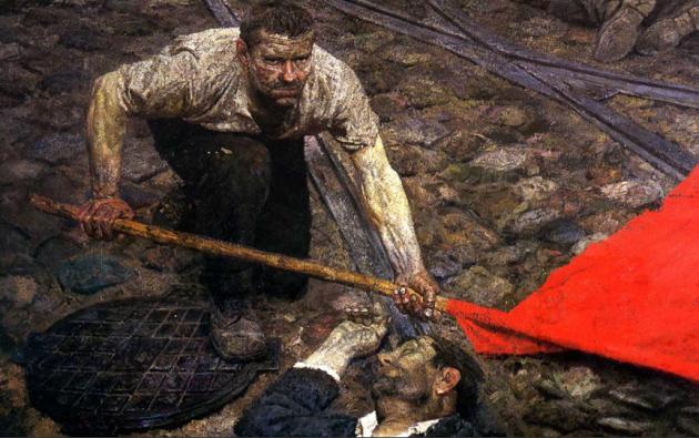 Гелий Коржев. Поднимающий знамя. 1957