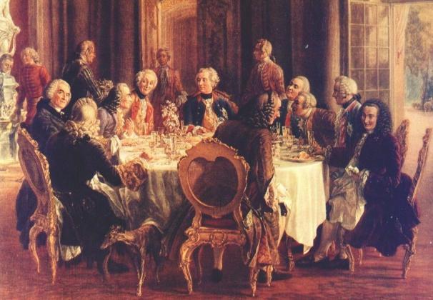 Адольф фон Менцель. Круглый стол в Сан-Суси. 1850 год. Фрагмент