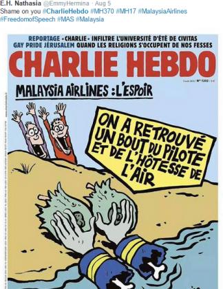 Семьи погибших пассажиров Boeing возмущены карикатурами Charlie Hebdo