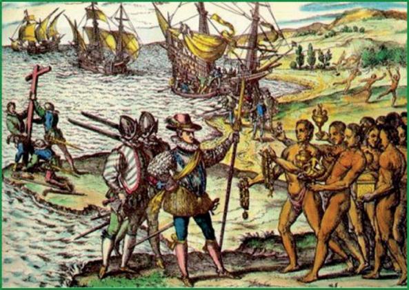 Индейцы радушно встречают конкистадоров. ( старинная гравюра)