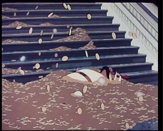 кадр из м/ф «Золотая антилопа», художники-постановщики  Александр Винокуров и Леонид Шварцман, 1954.