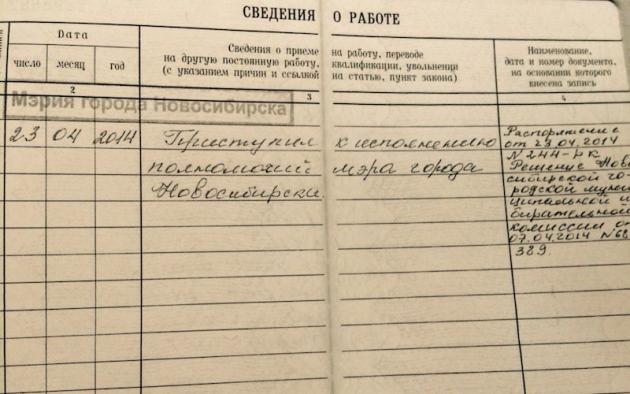 Копия «трудовой» Анатолия Локтя. Фото: vk.com