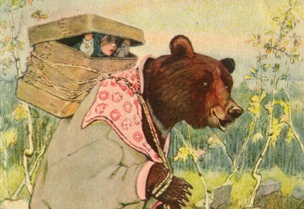 Маша и медведь. Иллюстрация к сказке.