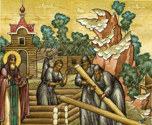 Святой Дионисий благословляет строительство Печерского монастыря