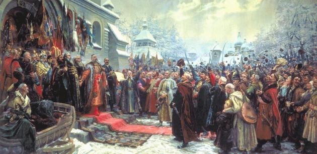 М. Хмелько. Переяславская рада 1654 г. Картина 1951 года