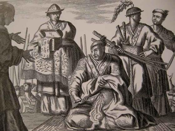 Харакири или сэппуку («вспарывание живота»), гравюра 1669 г.