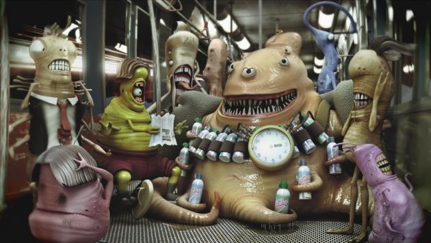 Микробы в рекламе одного из чистящих средств.