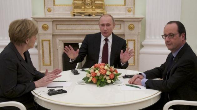 Ангела Меркель, Владимир Путин, Франсуа Олланд.
