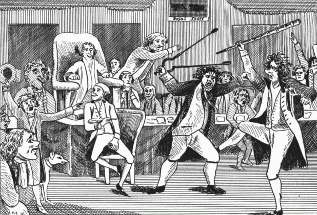 Поединок в конгрессе США 15 февраля 1798г. (газетная карикатура). Конгрессмен Р.Грисвальд колотил конгрессмена М.Лиона специально купленной дубиной, нанеся свыше 20 ударов, тот отбивался каминными щипцами. Они провели 2 раунда с небольшим перерывом.