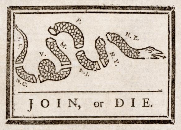 Первая карикатура США, опубликованная в прессе в 1754 г. (Бенджамин Франклин)