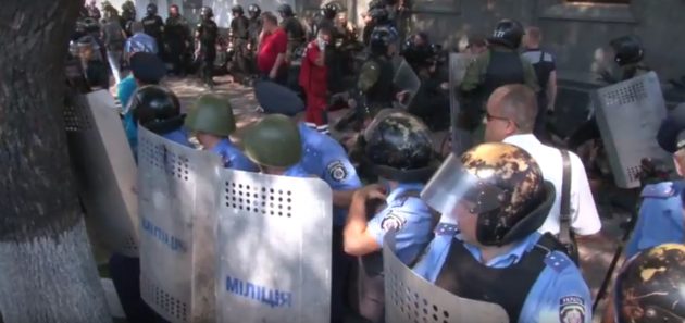 Беспорядки в центре Киева.