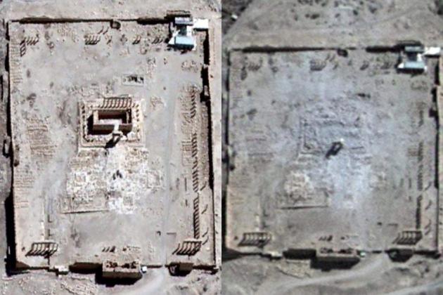 Спутниковые снимки храма Бэла в Пальмире до и после уничтожения.