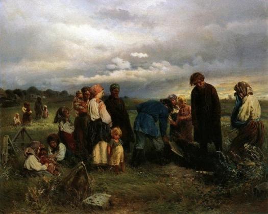 Похороны ребёнка Константин Маковский 1872 год.