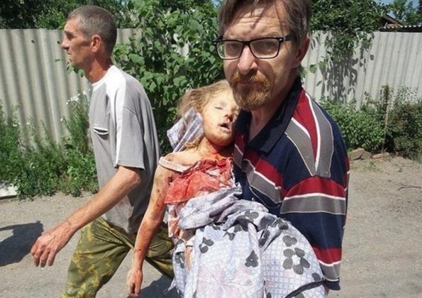 Донбасс. Девочка, убитая киевскими карателями. Лето 2014 года Славянск,