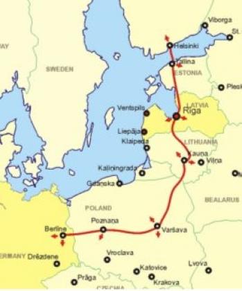 Карта-схема железной дороги Rail Baltica. Иллюстрация: euroby.info