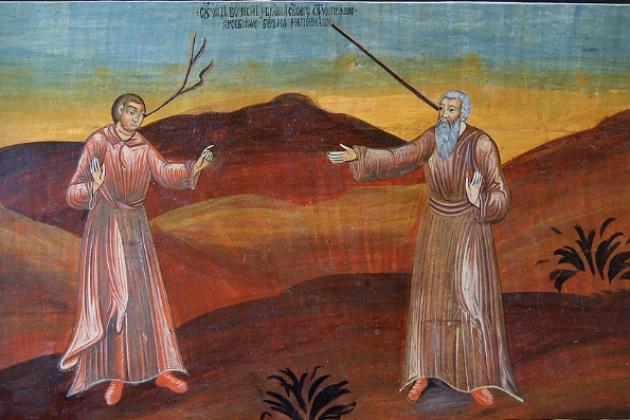 Притча о сучке и бревне. Икона XVIII в.