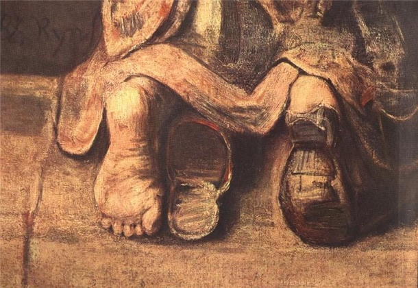 Рембрандт. Возвращение блудного сына (1669). Фрагмент