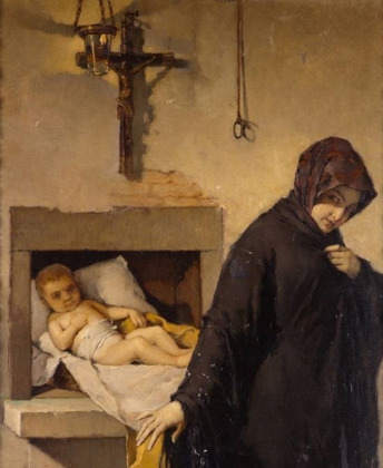 Хусепе Нин и Тудо. Брошенный в хосписе ребенок (1866). Фрагмент.