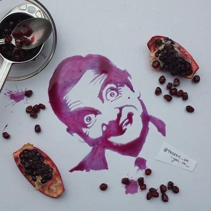 Художник из Манчестера создает портреты из еды.