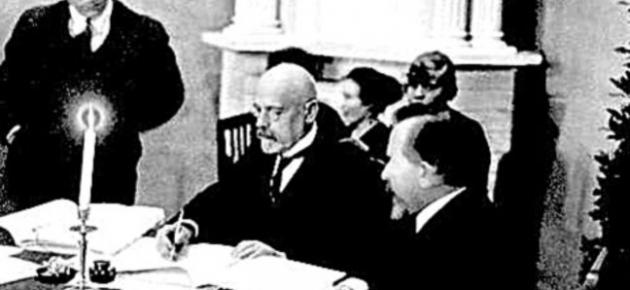 Яан Поска подписывает Юрьевский мирный договор. Изображение: postimees.ee